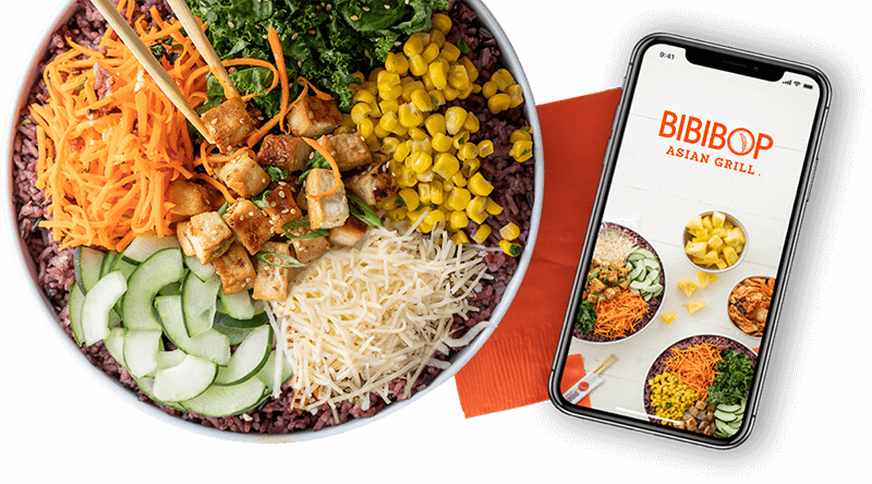 Bibibop bowl with napkin and phone with mobile ordering app