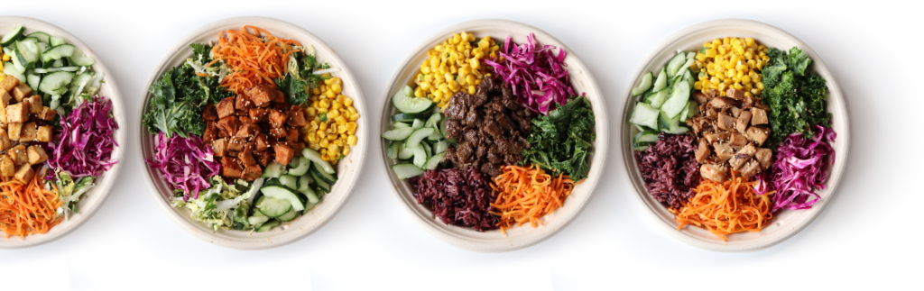 One Click Bowls from BIBIBOP Asian Grill featuring BIBIBOP Bowls filled with proteins, bases, and veggies.